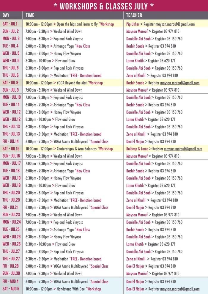 Schedule July 2017
